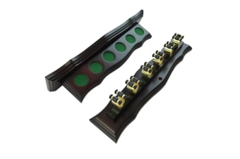Curved Wall Cue Rack with 6 Brass Cue Clips Mahogany