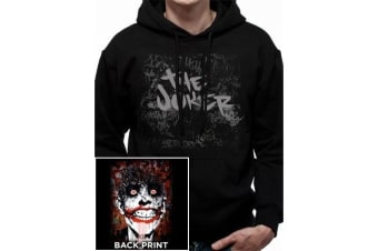 DC Comics Unisex Adults The Joker Arkham Design Pullover Hoodie (Black) (S)