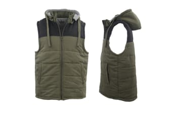 Unisex Men's Hooded Quilted Puffy Puffer Sleeveless Vest Thick Outerwear Jacket - Olive