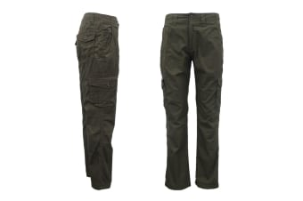 Men's Heavy Duty Cotton Drill Tactical Cargo Work Pants 6 Pockets Outdoor Camo - Dark Olive - Dark Olive