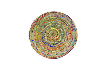 Chindi Jute Indian Design Recycled Floor Rug Round Small