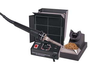 60W Soldering Iron + Fume Extractor 240V - Metal Supplied with iron stand and dry tip cleaner