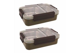 2PK Oasis 23cm Stainless Steel 2 Compartments Lunchbox Food Container Box Khaki