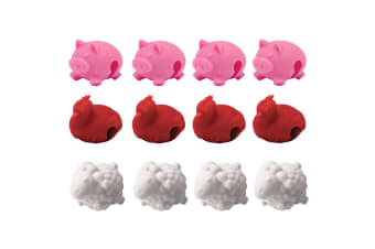 12pc Tovolo Farm Animals Silicone Pot Rim Lid Lifters Cooking Kitchen RD WHT PK