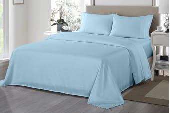 Royal Comfort 1200TC Ultrasoft Microfibre Bed Sheet Set (King, Sky Blue)