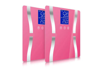 SOGA 2x Digital Body Fat Scale Bathroom Scales Weight Gym Glass Water LCD Electronic Pink