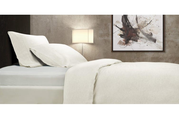 Royal Comfort 100% All Natural French Lux Linen Quilt Cover Set Double - Natural