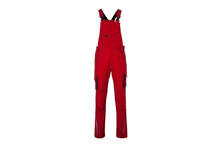 James and Nicholson Unisex Workwear Pants with Bib Level 2 (Red/Navy) (28R)