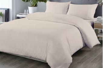 Royal Comfort Blended Bamboo Quilt Cover Set (King, Warm Grey)