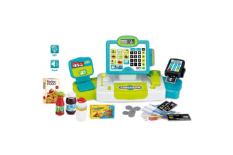 Blue Electronic Kids Toy Cash Register with Soft Buttons and Card Reader