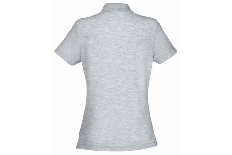 Fruit Of The Loom Womens Lady-Fit 65/35 Short Sleeve Polo Shirt (Heather Grey) (L)