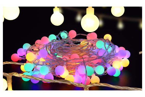 Image of 100 LED Ball Bulb String Lights Multi-Colour
