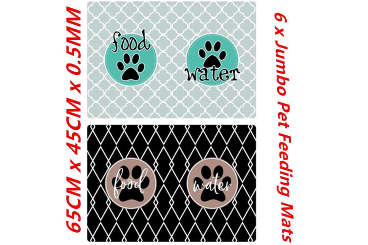6 x Jumbo Large Pet Feeding Food Mat for Dog Cat Placemat Dish Bowl Easy Wipe Clean