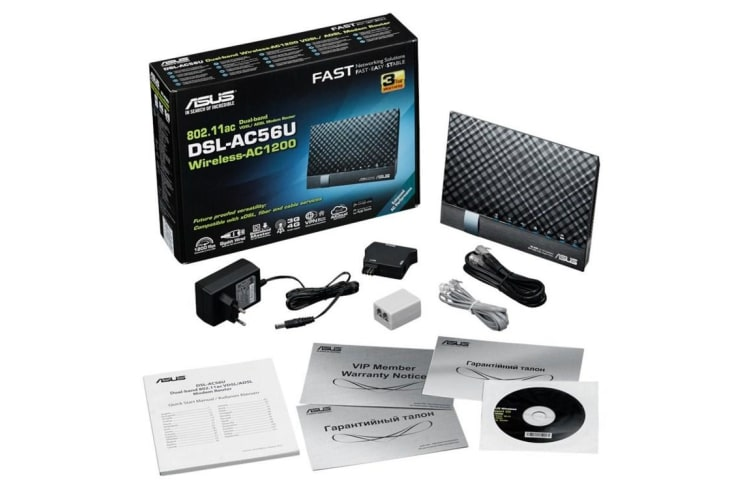ASUS DSL-AC56U wireless router Dual-band (2.4 GHz / 5 GHz) Gigabit Ethernet 3G