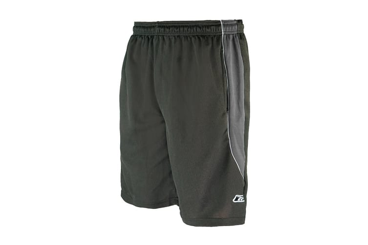 Reebok Men's Two-Toned Athletic Performance Mesh Shorts (Charcoal/Black, Size M)