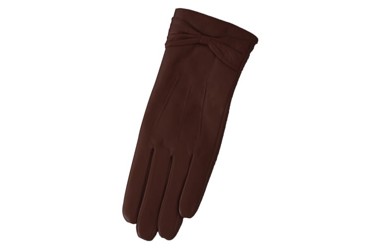 Eastern Counties Leather Womens/Ladies Ruched Bow Gloves (Brown) (L)