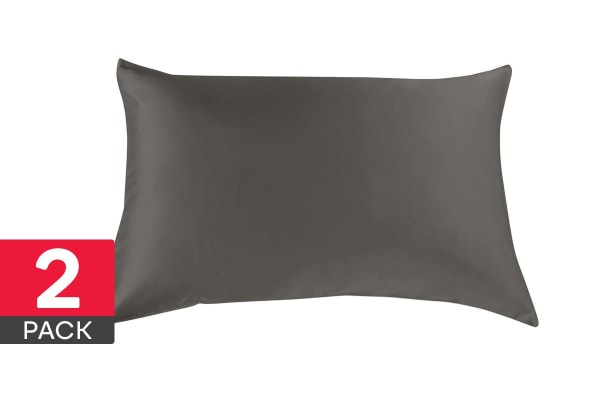 Royal Comfort Mulberry Silk Pillow Cases - 2 Pack - (Charcoal)