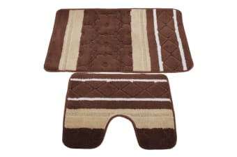 2 Piece Striped Bath Mat/Rug & Pedestal Mat Set (Brown/Beige) (One Size)