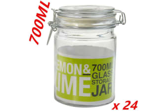 24 x 700ml Glass Jar Clip Lock Lid Preserving Jars Storage Container Canister dd