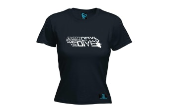 Open Water Scuba Diving Tee - Everyday Awesome When You Dive - (X-Large Black Womens T Shirt)