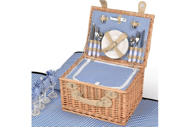 Deluxe 4 Person Picnic Basket Baskets Set Outdoor Corporate Blanket Park Trip AU