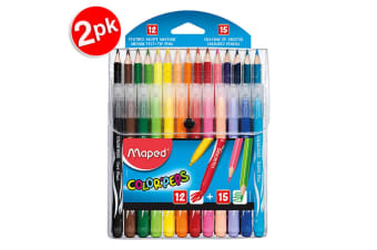 2x Maped ColorPeps Kids Multi Pack with 12 Colour Pencils & 15 Felt Tip Pens