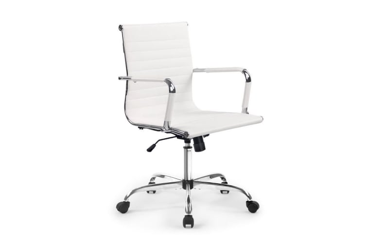 Artiss Eames Replica Office Chair Leather Executive Computer Desk Chairs White
