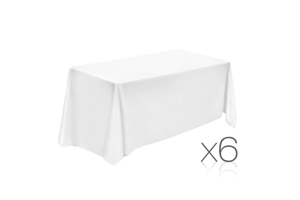 Set of 6 Table Cloths (White) 152 x 259