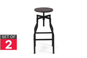 Shangri-La Set of 2 Turner Timber Top Industrial Stools