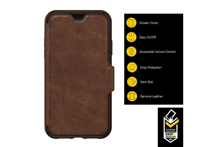 Otterbox Strada Folio Leather Case Cover for iPhone XR Wallet Card Slot Espresso