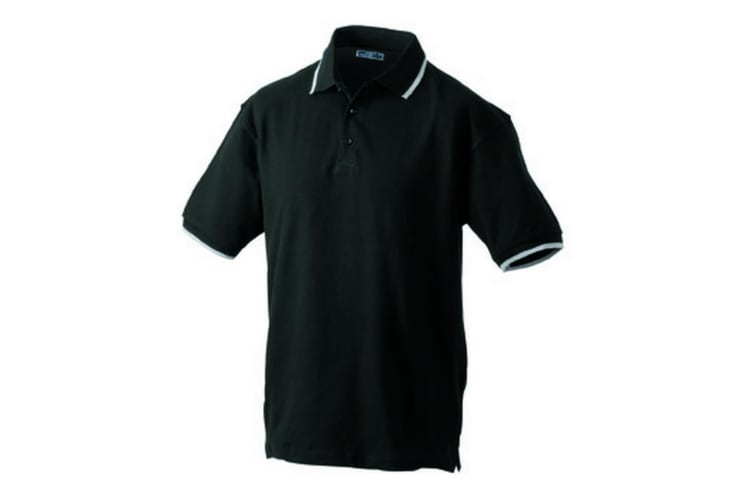 James and Nicholson Unisex Tipping Polo (Black/Silver) (XL)