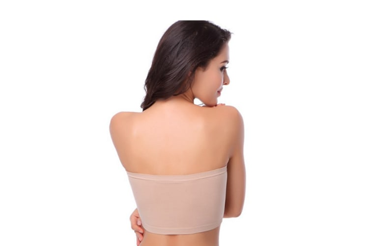 3 Pack Of Women'S Plus Size Padded Bandeau Strapless Bras Stretch Seamless Tube Top Bra L