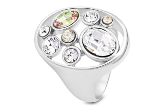 Philomena Cocktail Ring Multi Colour Embellished with Swarovski crystals  Size US 6