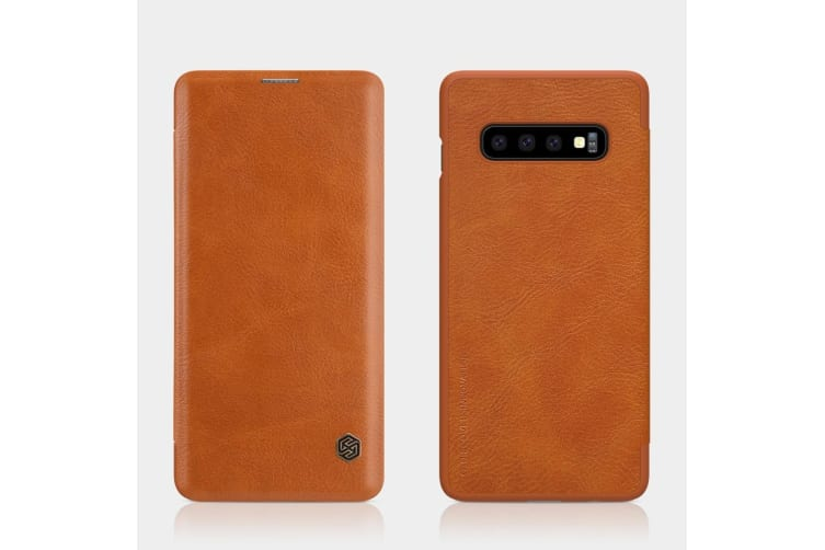 For Samsung Galaxy S10+ Plus Case  Brown Leather Folio Flip Ultra Slim Cover