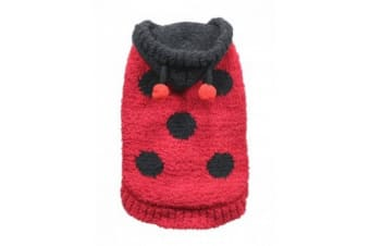 Hip Doggie Touch Fastening Ladybird Chenille Dog Hoodie (Red/Black)