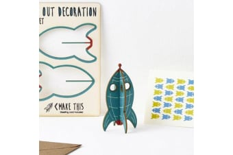 Pop Out Decoration Greeting Card - Rocket
