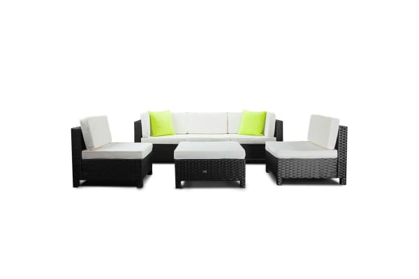 LONDON RATTAN 6pc Outdoor Furniture Setting Sofa Set Wicker Lounge Patio Black
