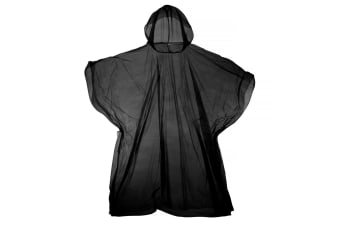 Hooded Plastic Reusable Poncho (Black) (One Size)