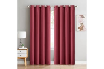 2x Blockout Curtains Panels 3 Layers Eyelet Room Darkening 240x230cm Burgundy