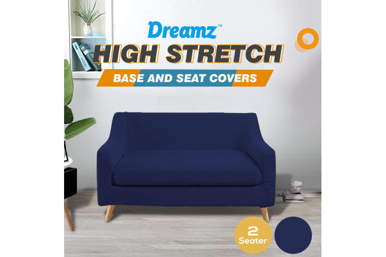 Dreamz Couch Sofa Base & Seat Cover Stretch Protector Slipcover 2 Seater Navy AU