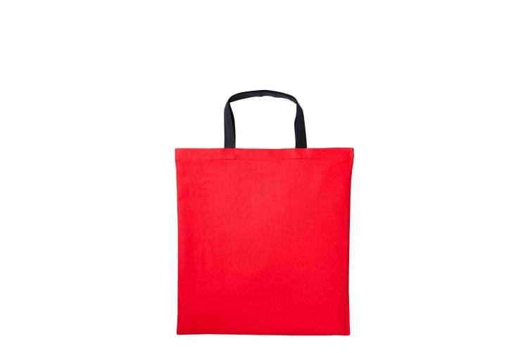 Nutshell Varsity Cotton Shopper Short Handle Tote (Fire Red/Black) (One Size)