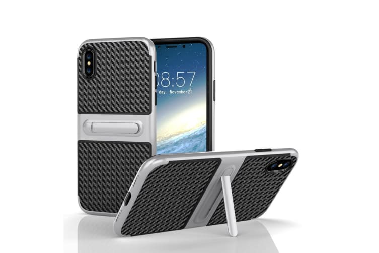 For iPhone XS X Case Elegant Carbon High-Quality Armour Protective Cover Silver
