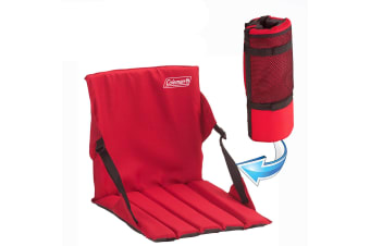 COLEMAN STADIUM SEAT ROLL UP COMFORT COVER SOFT CUSHION CHAIR GROUND PICNIC RED
