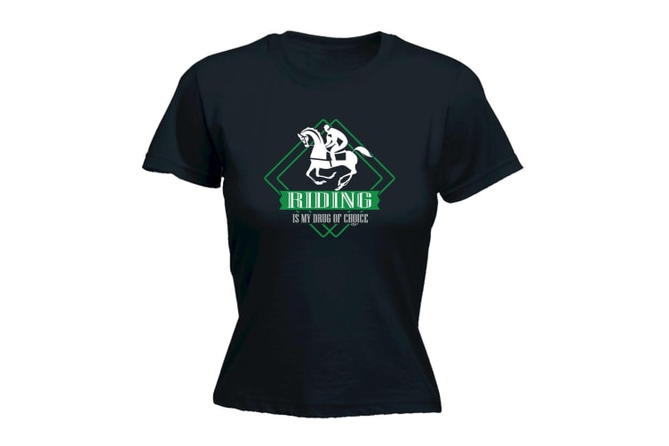 123T Funny Tee - Horse Riding Is My Drug Of Choice - (XX-Large Black Womens T Shirt)
