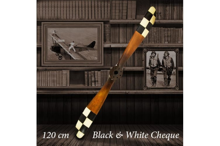 Barnstormer Wooden Airplane Propellers 120cm - Black & White Cheque