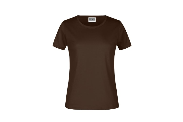 James And Nicholson Womens/Ladies Round Neck Basic T-Shirt (Brown) (L)