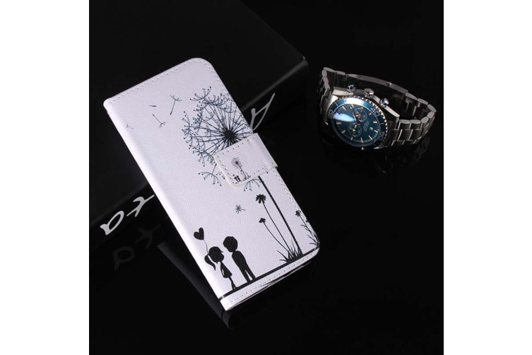 For iPhone XS Max Case Folio Leather Card Slots Wallet Cover Couple Dandelion