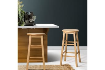 Artiss 2 x Wooden Bar Stools Bar Stool Dining Chairs Kitchen Nature Barstools