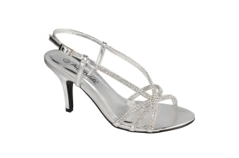 Anne Michelle Womens/Ladies Diamante Slingback Evening Sandals (Silver) (6 UK)
