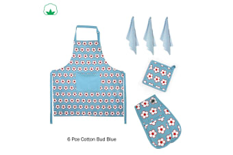 6 Pce Cotton Bud Cotton Kitchen Set Blue by IDC Homewares